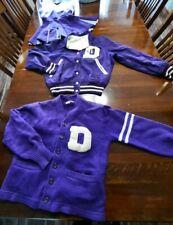 Vintage Cheerleader Uniform Letter Jacket Sweater 3 Pieces D Basketball Purple