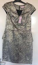 GOLD & BLACK PEPLUM DRESS, SIZE 12, BNWT, PHILIP ARMSTRONG, RRP £50, MATALAN