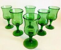 Vintage Set Of 6 Handblown Green Glass 4 Oz Wine Glasses
