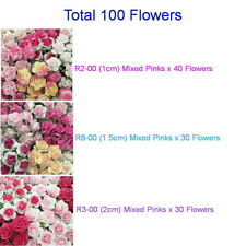 100 Mixed Sizes Pink Mulberry Paper Flowers 1cm Mini, 1.5cm & 2cm Topper R283-00