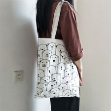 Cotton Canvas Eco Shopping Tote Shoulder Bag Printed Bear Changing Color DY8 S#