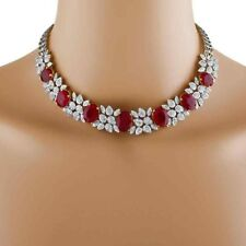 Mind Blowing Ruby Statement Necklace  Made with Sterling Silver