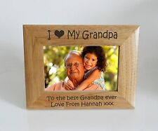 Grandpa Photo Frame- I heart-Love My Grandpa 7 x 5 Photo Frame - Free Engraving