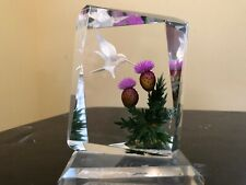 hummingbird thistle Reverse Etched Hand Painted Lucite Sculpture Signed Wald '85