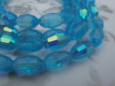 30 Glass Beads, 42 Facet Oval 9x6mm AB Turquoise blue