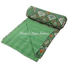 Indian Bed Cover Queen Cotton Printed Quilt Blanket Rainbow Kantha Quilts