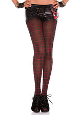 Black/Red Spandex Checkered Tights Opaque Plaid Stripe Crosshatch Full Pantyhose