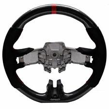 Steering Wheel Alcantara Hydro Dip Carbon Fiber Red Stitch 15-17 Ford Mustang GT