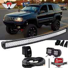 "50"" 288W Led Light Bar+2x18W Fog Light Roof Mounts 99-04 Jeep Grand Cherokee WJ"