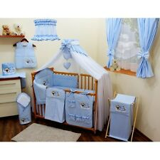 Luxury 8 pcs BABY BEDDING SET /BUMPER/CANOPY /HOLDER to fit COT BED  140 x 70cm