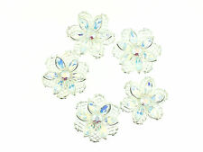 Silver Plated Filigree Flower Findings w/ Swarovski Crystals 5 pcs (G-303)