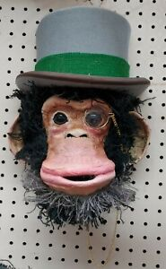 Handmade Unique Monkey in Top Hat 3D Wall Art Hanging Decor