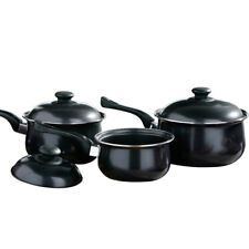 3PC NON STICK COOKWARE SET SAUCE PAN POT LID KITCHEN FRY PAN FRYING LIDS BLACK