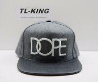 DOPE Logo Gray Black Wool Snapback Flat Bill Hat Cap Msrp $40 O