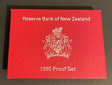 1990 New Zealand NZ Proof Coin Set includes $2 & $1 Sterling Silver Coins .925