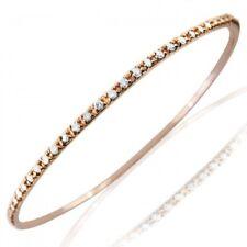 2 Carat Women's Diamond Eternity Stackable Bangle Bracelet Slip-on 14k Rose Gold