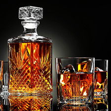 Whisky Glass Decanter & Scotch Glasses Set 1 Crystal Bottle + 6 Liquer Glasses