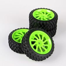 4X 1:10 Rally Rubber Tire Wheel Rim 12mm Hex For HSP HPI RC Car 11204 6mm Offset