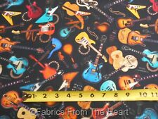 Guitars Electric Folk Good Vibrations Music Notes on Black BY YARDS QT Fabric
