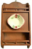Blue Ridge Pottery Shelf Vintage Wood Wall Hanging Unique Display Curio Cabinet