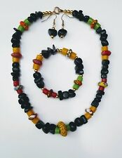 African jewellery set. Green, red, gold. Women's accessories