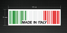 2 x MADE IN ITALY BAR CODE Stickers/Decals with a White Background - EURO - DUB