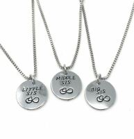 925 Silver Plt 'Big Middle Little Sis' Necklace Friends Forever Baby Sister C