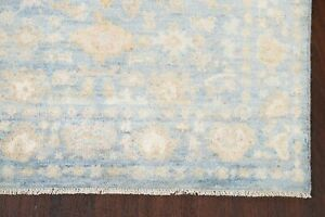 Vegetable Dye Muted Blue Oushak Turkish Area Rug Hand-Knotted Oriental 4'x6'
