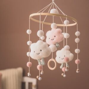 1pc Baby Rattles Crib Mobiles Wood Toy Holder Rotating Bed Bell 0-12month Cloud