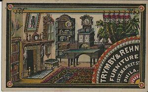 TRYMBY & REHN ARTISTIC FURNITURE, PHILA, VICTORIAN TRADE CARD