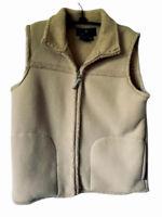 Free Country Womens Vest Beige Zip Up Front Collar Sherpa Fleece Pockets L