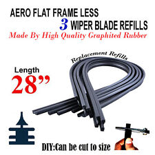 """3 x AERO FLAT FRAMELESS BOSCH TYPE WIPER BLADE REFILLS 28"""" LONG-CAN CUT TO SIZE"""