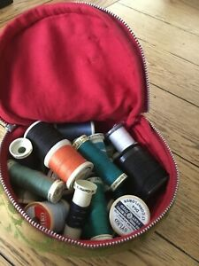 sewing thread bundle, job lot, sewing bag and assorted thread