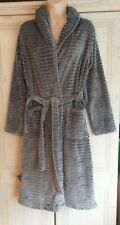 Ladies Cosy Embossed Stripe Silvery Coloured Dressing Gown from NEXT in a size S