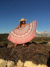 "Indian Ombre Mandala Round Roundie Tapestry Beach Throw Blanket Yoga Mat UK 72"""