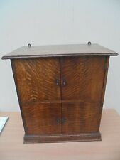 Vintage wooden oak? 4 door cabinet, internal shelf, brass drop handles, storage