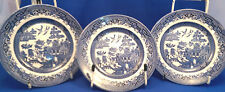 Ironstone Willow Pattern Transfer Ware Pottery Side Plates