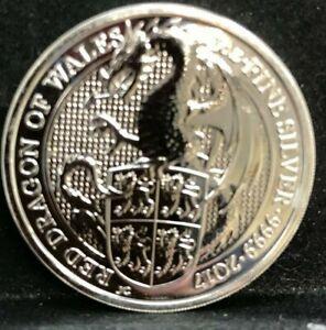 QUEEN'S BEAST 2 OZ SILVER 2017 RED DRAGON OF WALES