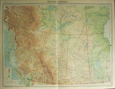 1922 LARGE ANTIQUE MAP ~ WESTERN CANADA ~ BRITISH COLUMBIA ALBERTA MANITOBA