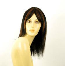 perruque femme 100% cheveux naturel mi-long méchée noir/cuivré TATIANA 1b30