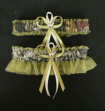 Mossy Oak Green Wedding Garter Set Camouflage Camo Deer Hunting Hunter Bridal