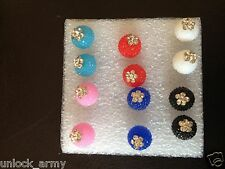 The Cactus Swarovski Crystal Bling Handmade Stud Earrings Mix Colors 6 Pairs A9