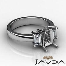 3 Stone Diamond Classic Engagement Emerald Semi Mount Ring 18k White Gold 0.5Ct