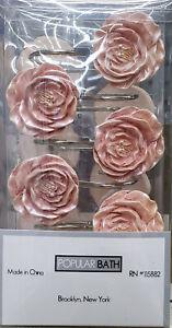 NEW PINK ROSE FLOWER SHOWER CURTAIN HOOKS 12PC SET POPULAR BATH FLORAL DECOR