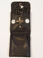 Antique WWII US Soldier pocket prayer protection shrine rosary medal 1929 book