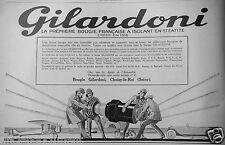 PUBLICITÉ 1927 GILARDONI LA PREMIÈRE BOUGIE FRANÇAISE A ISOLANT STEATITE.