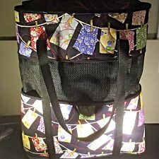 """Quilted Fabric Tote with Vinyl Mesh 19"""" x 15"""" x 6 """" Handmade"""