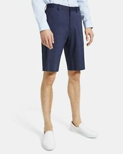NWT Theory Mens Designer Shorts Curtis Size 31 Navy Blue Stretch Linen Viscose