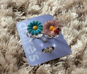 BNWT Claires Dual Adjustable Ring, Pink Sparkle, Blue Flower With Ladybird