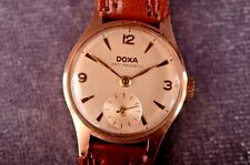 Vintage Doxa 14K Gold Ladies Hand Winding Watch SUB Second Cal. 67 Leather Strap